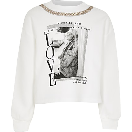 Girls white luxe necklace sweatshirt