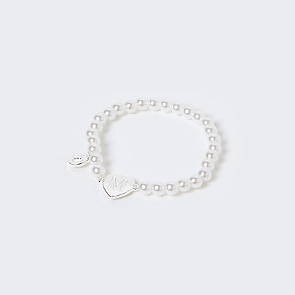Girls white M initial bracelet