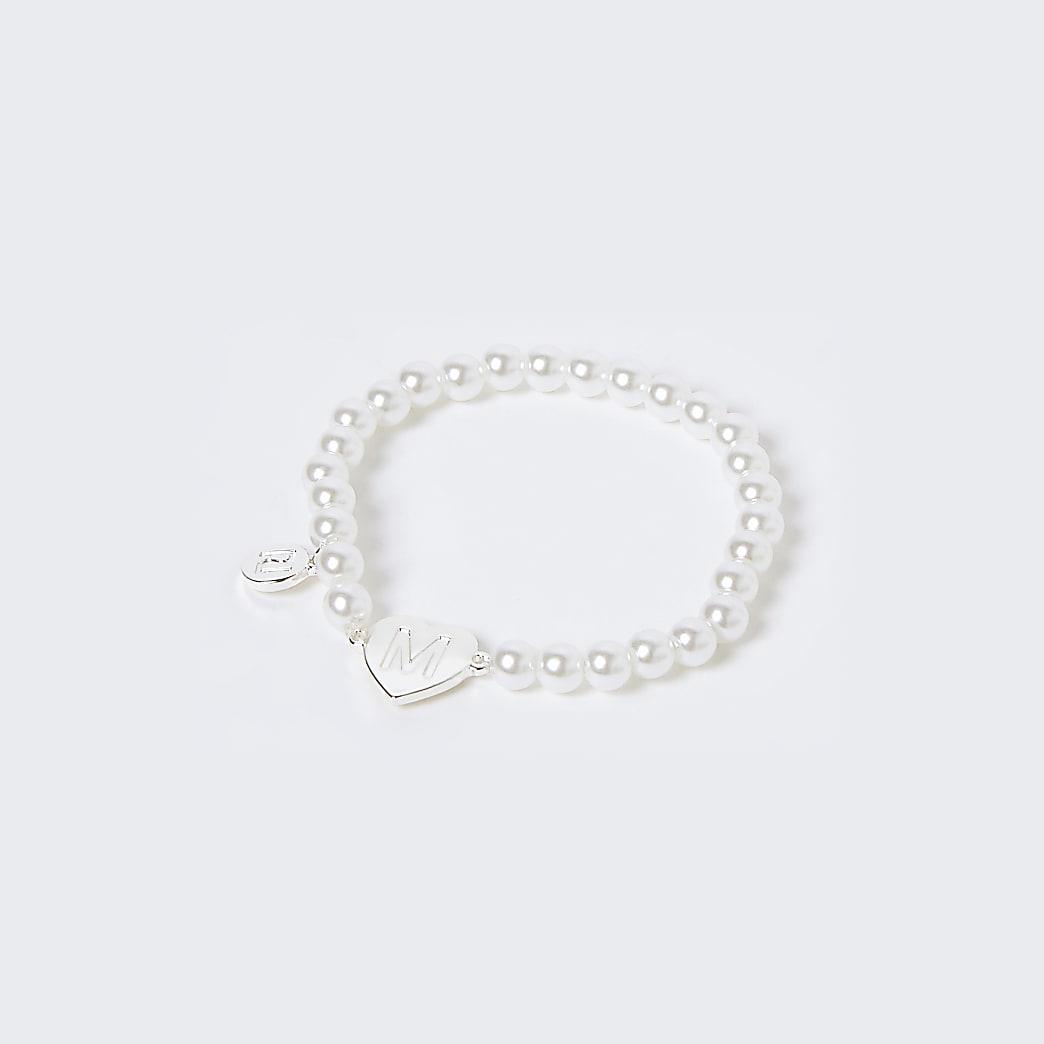 Girls white M initial bracelet
