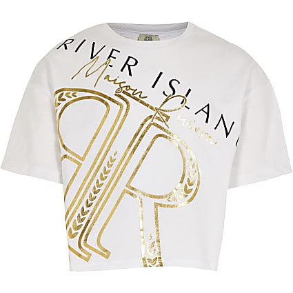 Girls white 'Maison Riviera' crop t-shirt