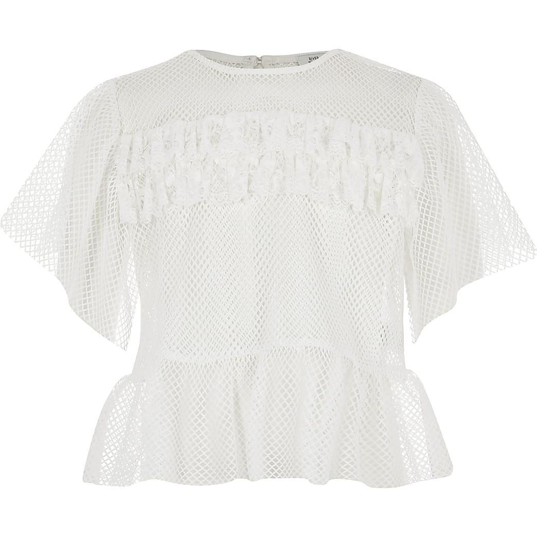 Girls white mesh frill T-shirt