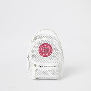 Girls white mesh mini backpack