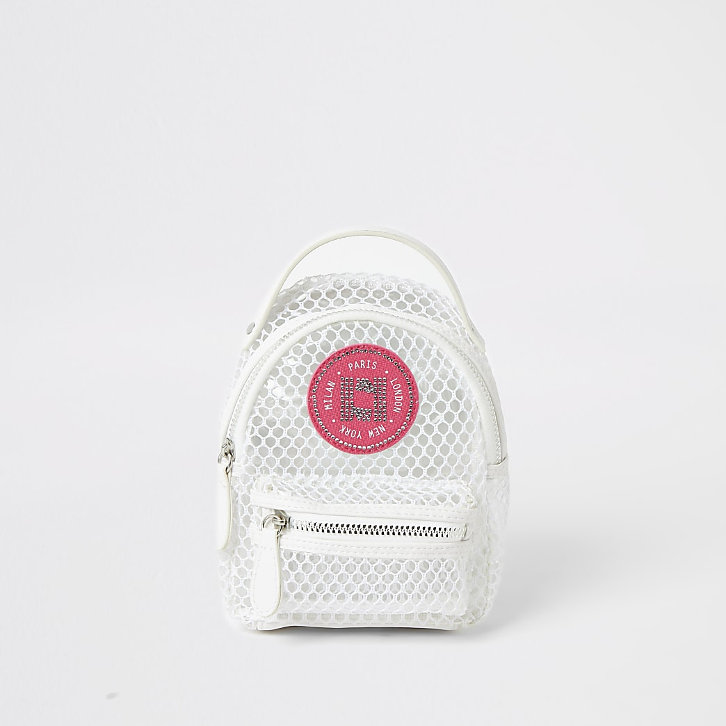 Girls white mesh mini backpack