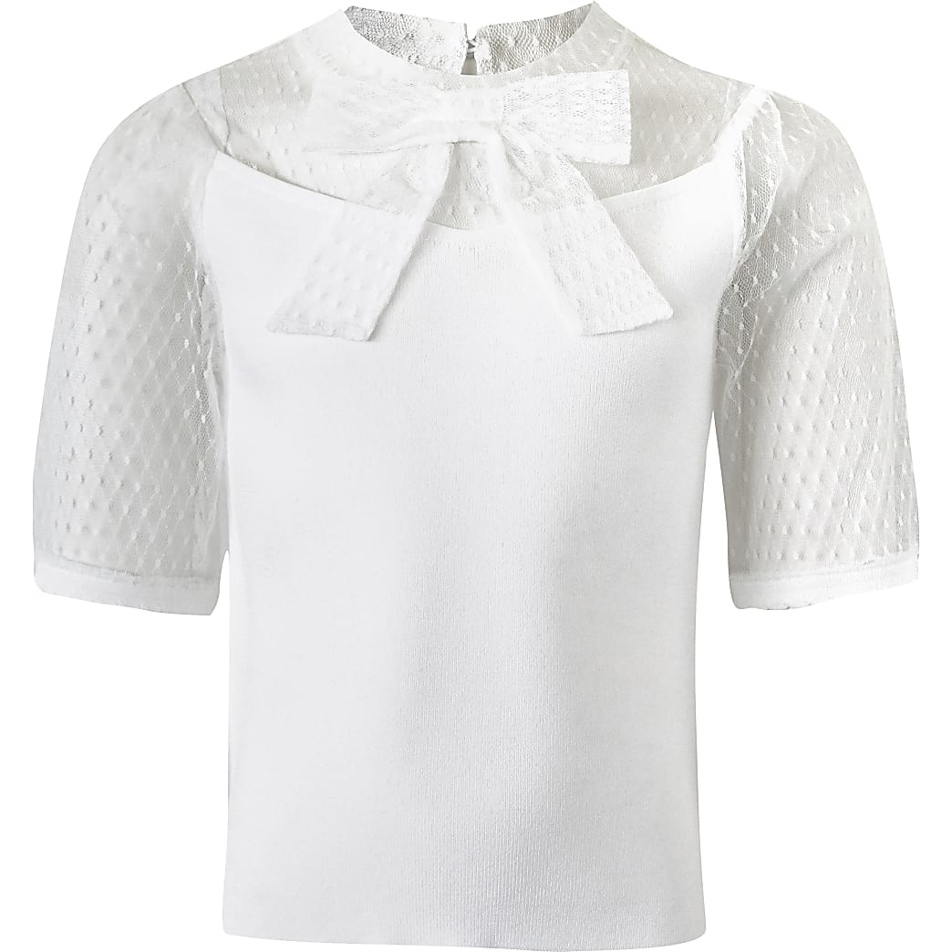 Girls white mesh puff sleeve bow ribbed top