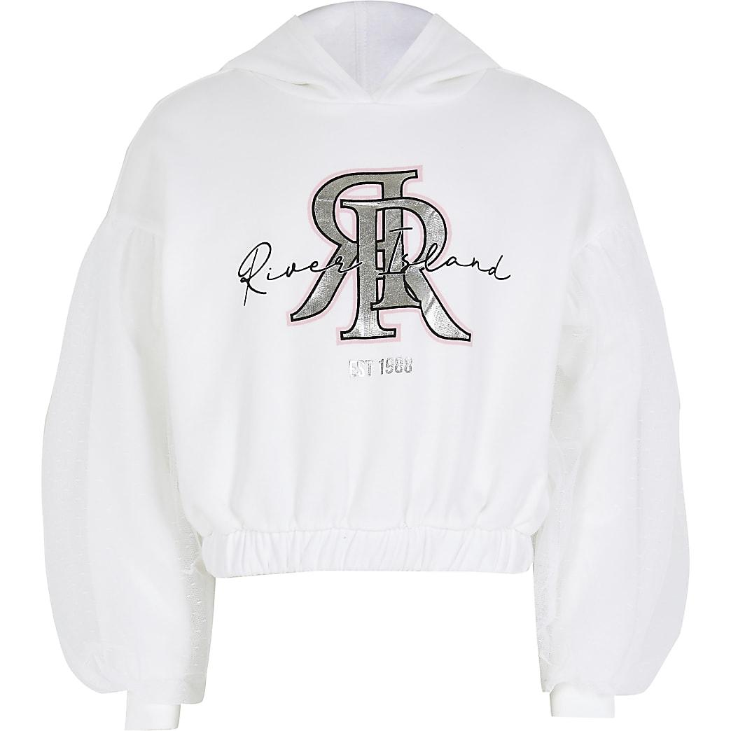 Girls white mesh puff sleeve hoodie