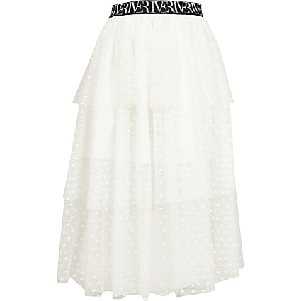 Girls white mesh rara skirt
