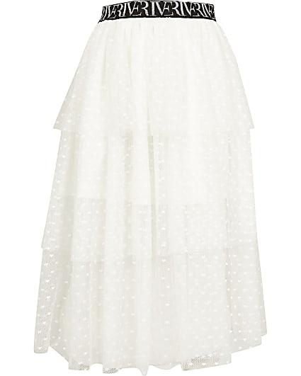 Girls white mesh rara skirt