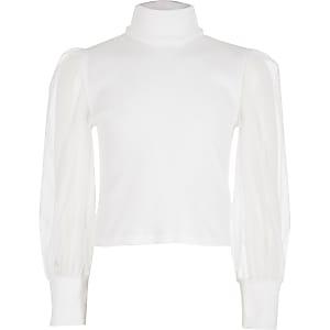Top cotelé blanc à col montant avec manches longues en tulle pour fille