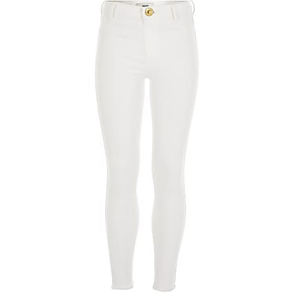 Girls white Molly mid rise jeggings