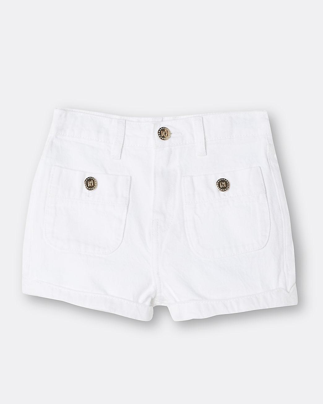 Girls white mom shorts