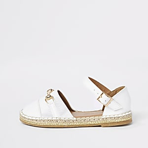 Girls white monogram closed toe espadrille