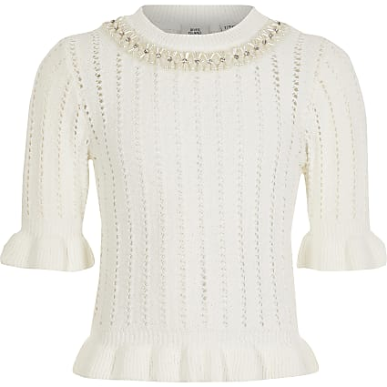 Girls white neck embellished knitted jumper