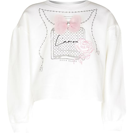 Girls white necklace print bow sweatshirt