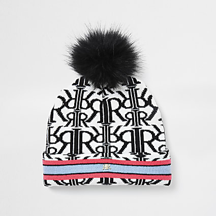 Girls white neon monogram beanie hat