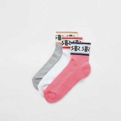 Girls white neon sports socks 3 pack