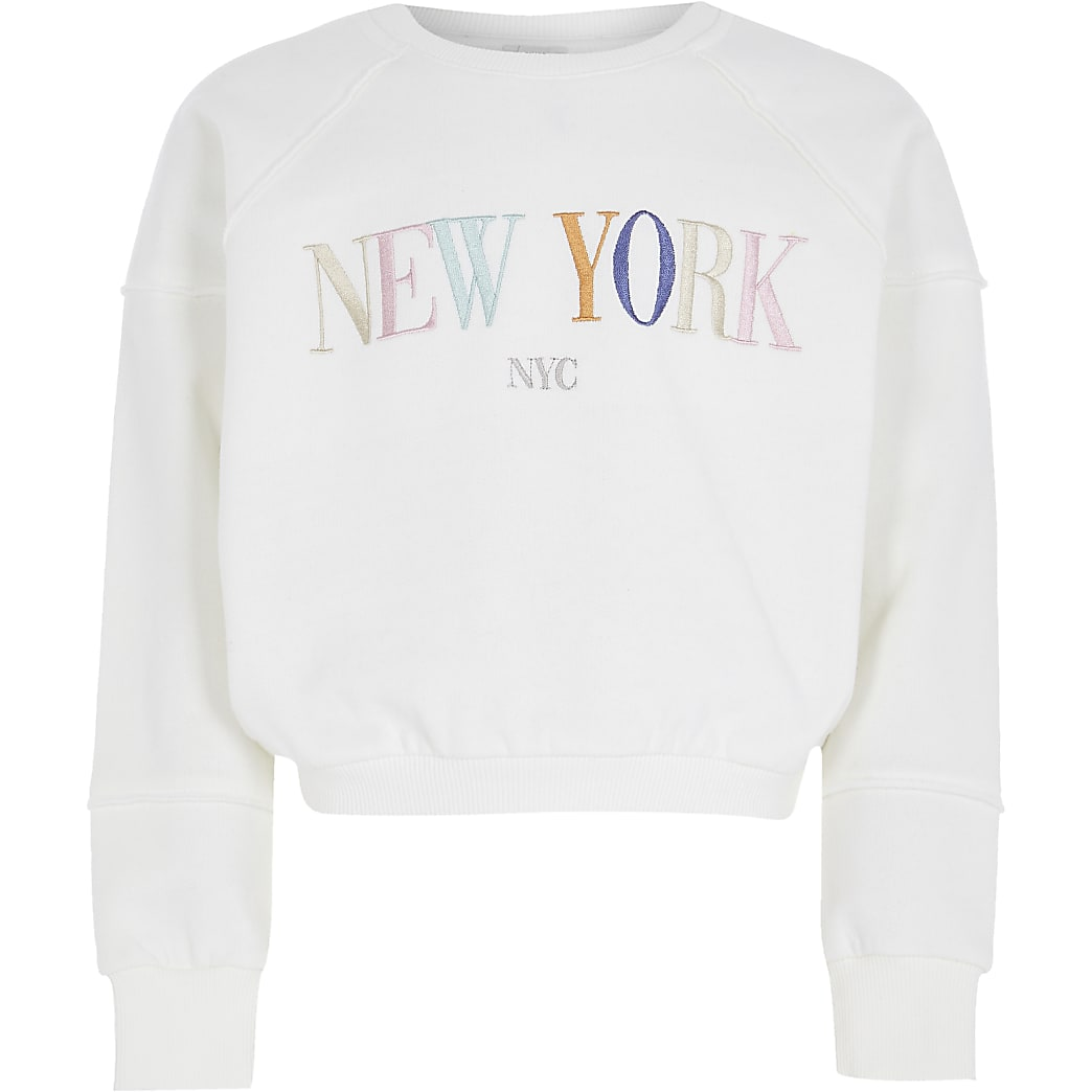 Girls white 'New york' sweatshirt