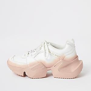 Klobige weiße Sneaker zum Schnüren in Ombreoptik für Mädchen