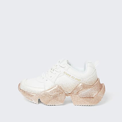 Girls white ombre chunky sole trainers