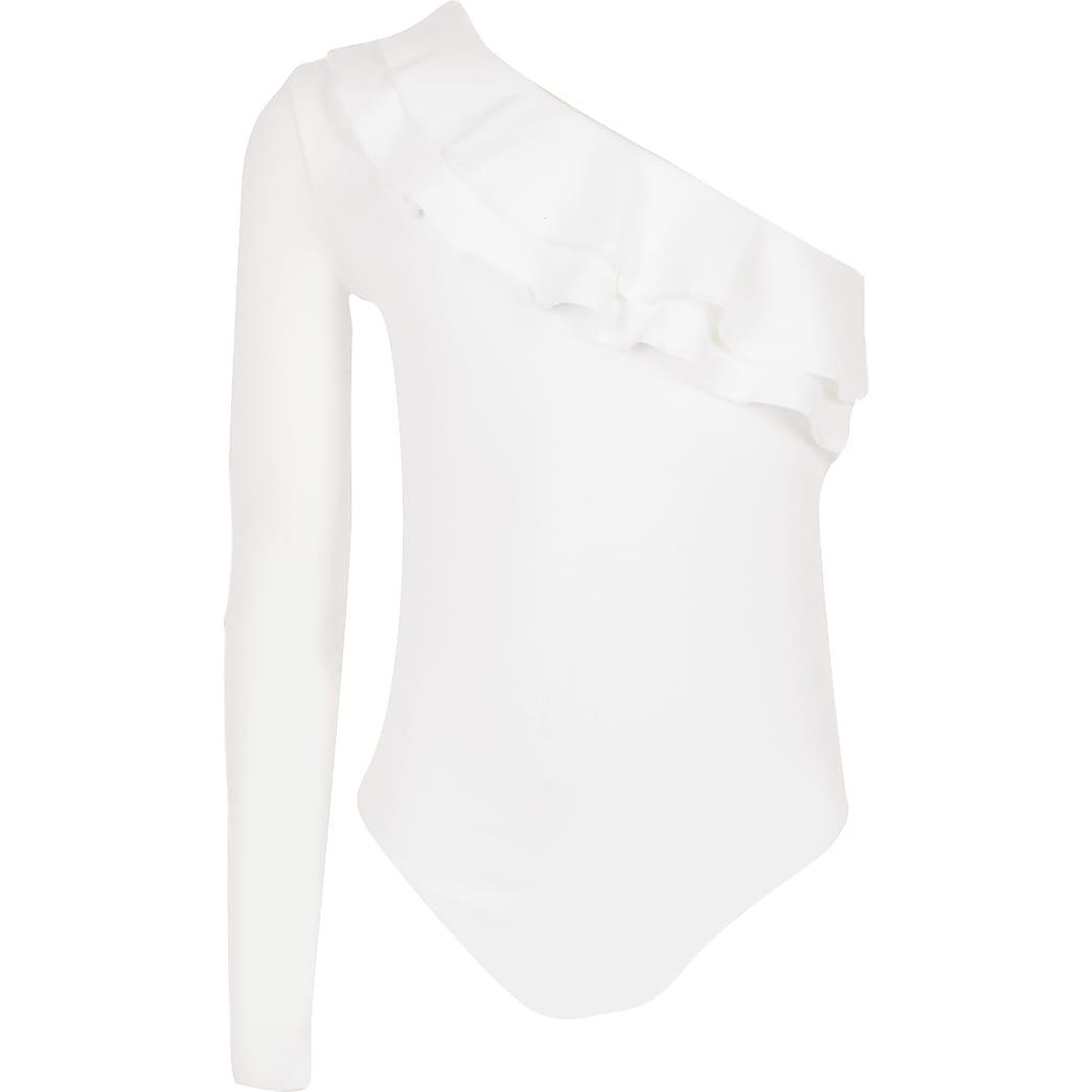 Girls white one shoulder frill bodysuit
