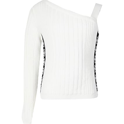 Girls white one shoulder tape side knit top
