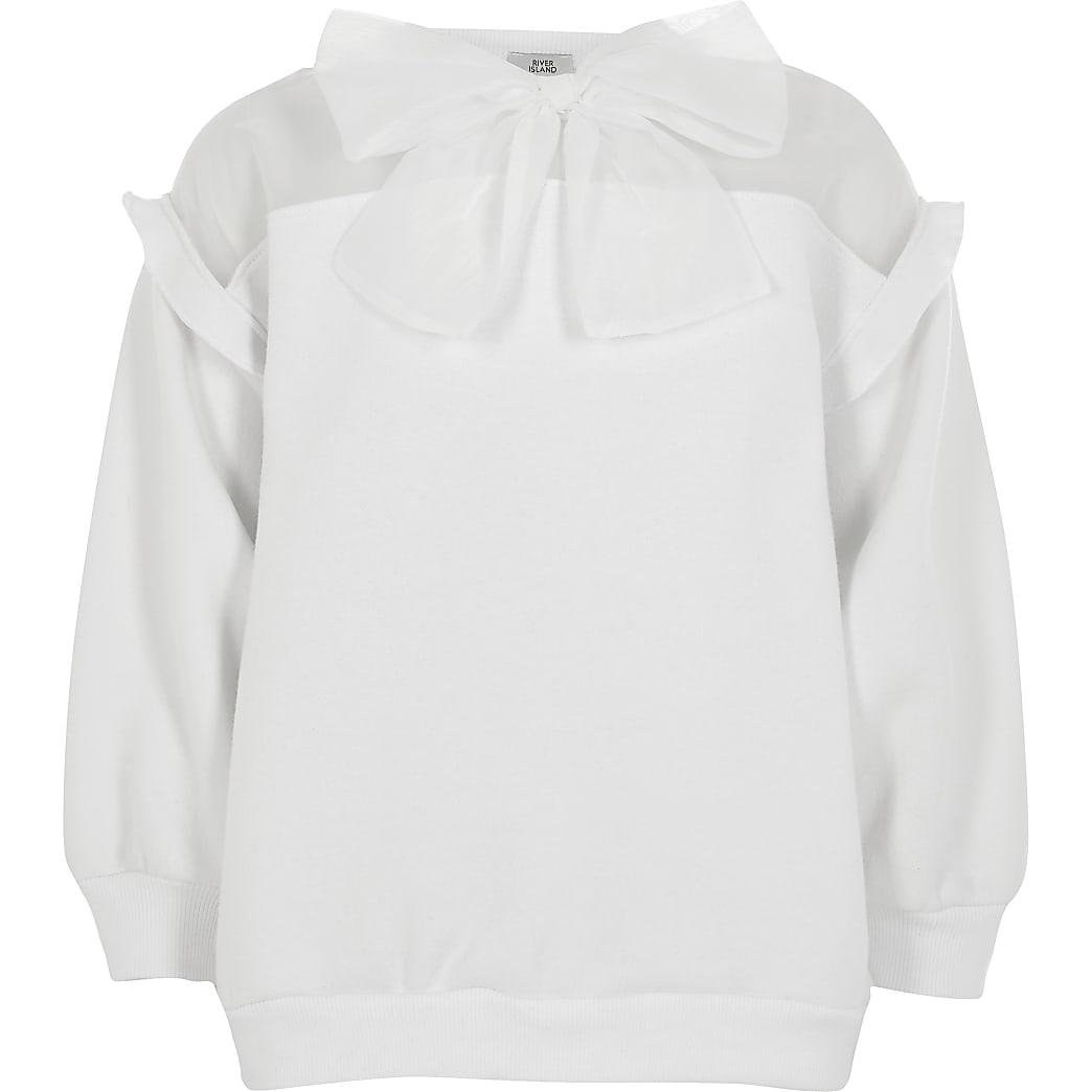 Girls white organza bow sweatshirt