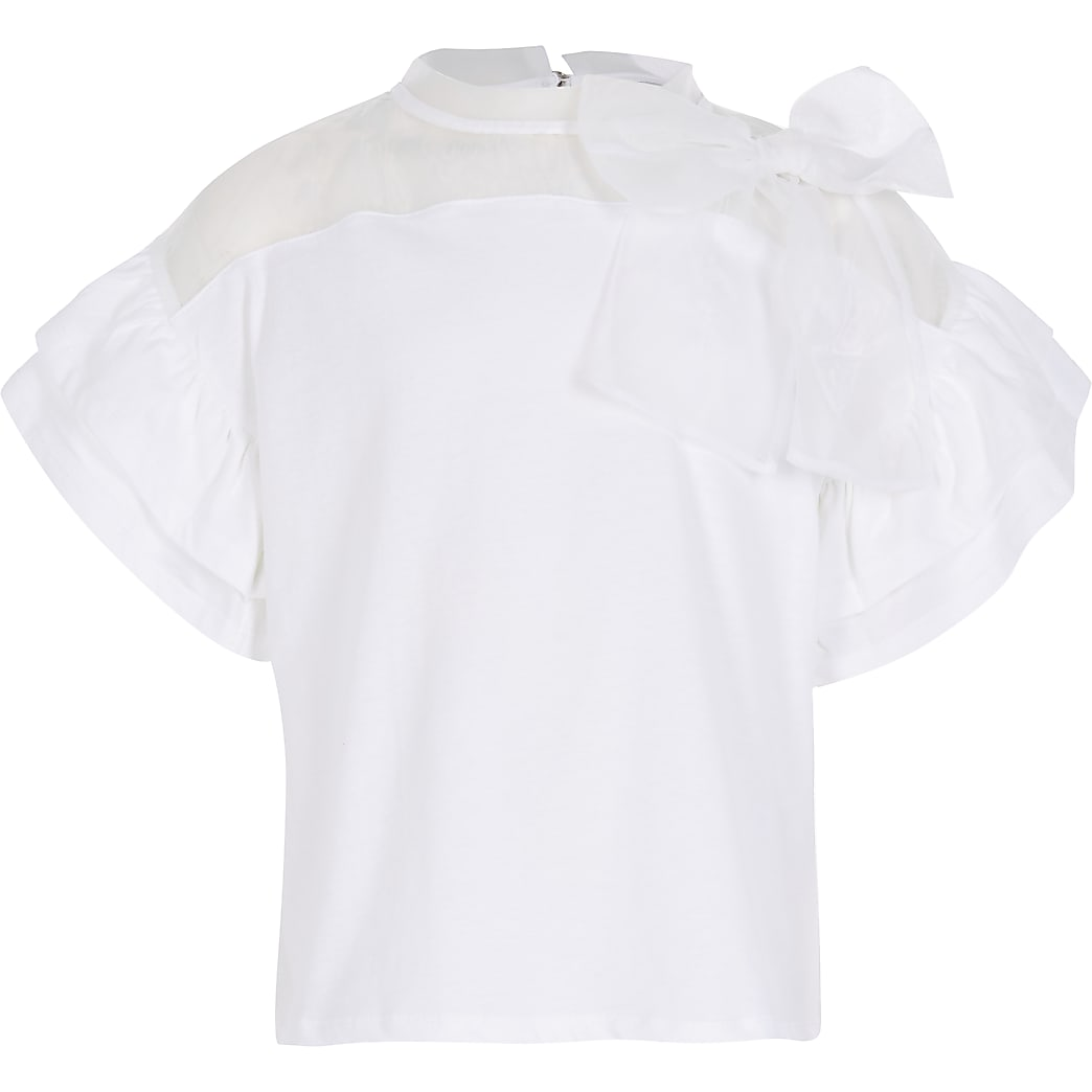Girls white organza bow top