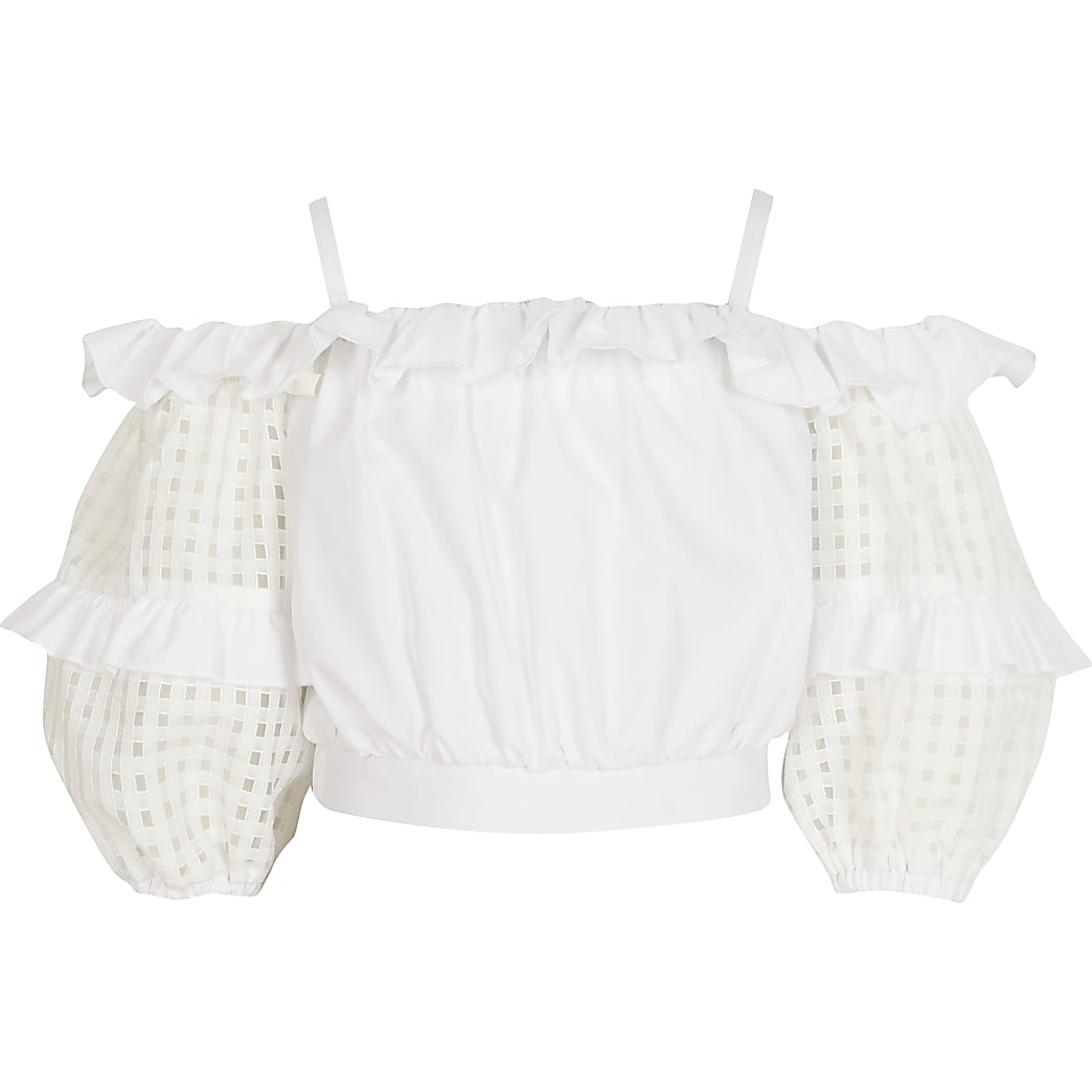 Girls white organza check sleeve crop top