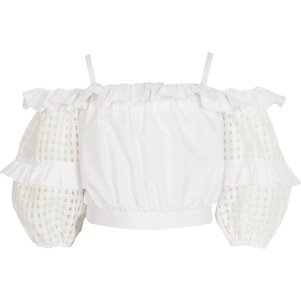 Witte geruite crop top met  orangza mouwen voor meisjes