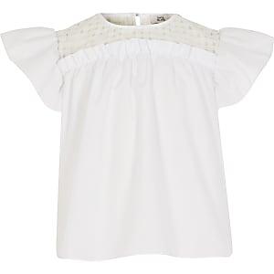 Witte  blouse met geruite organza op het passtuk voor meisjes