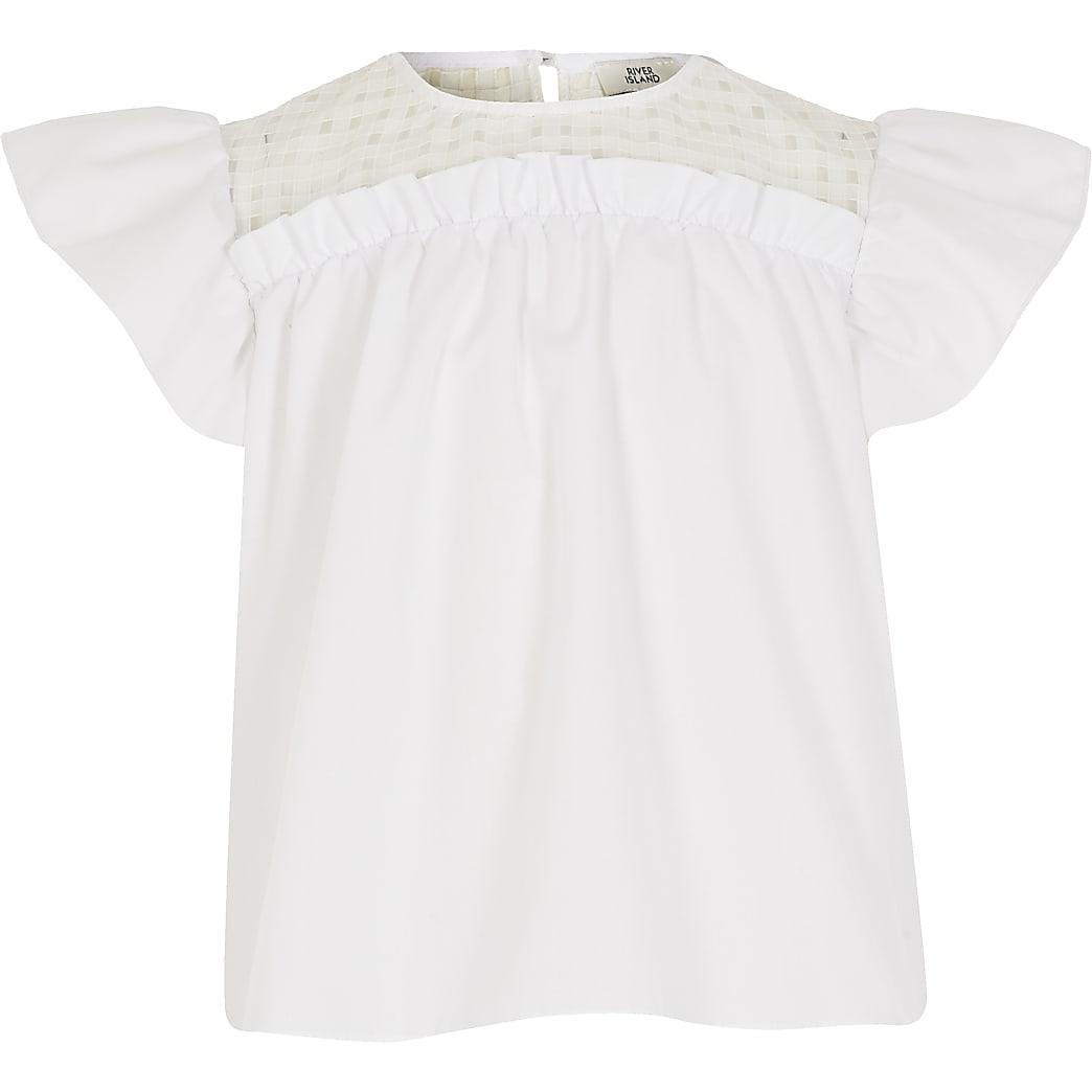 Girls white organza check yoke blouse