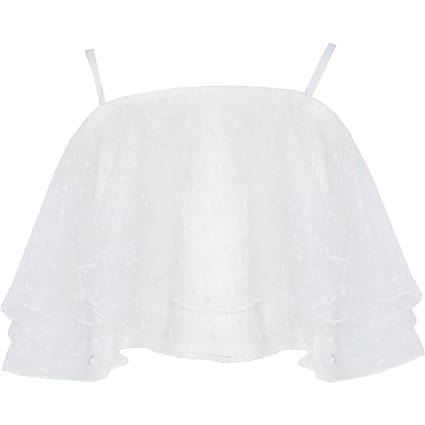 Girls White organza dobby crop top