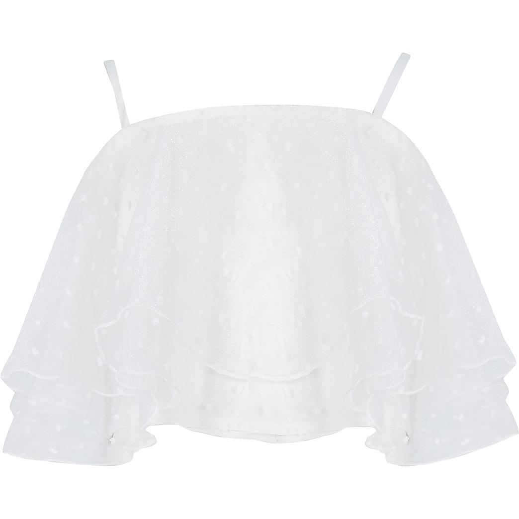 Girls White organza dobby crop top