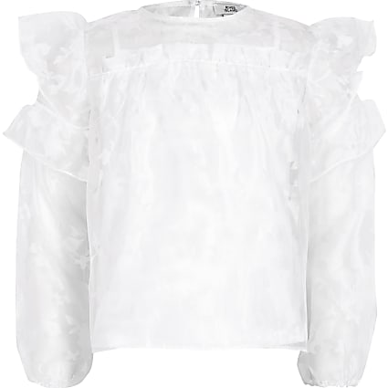 Girls white organza frill top