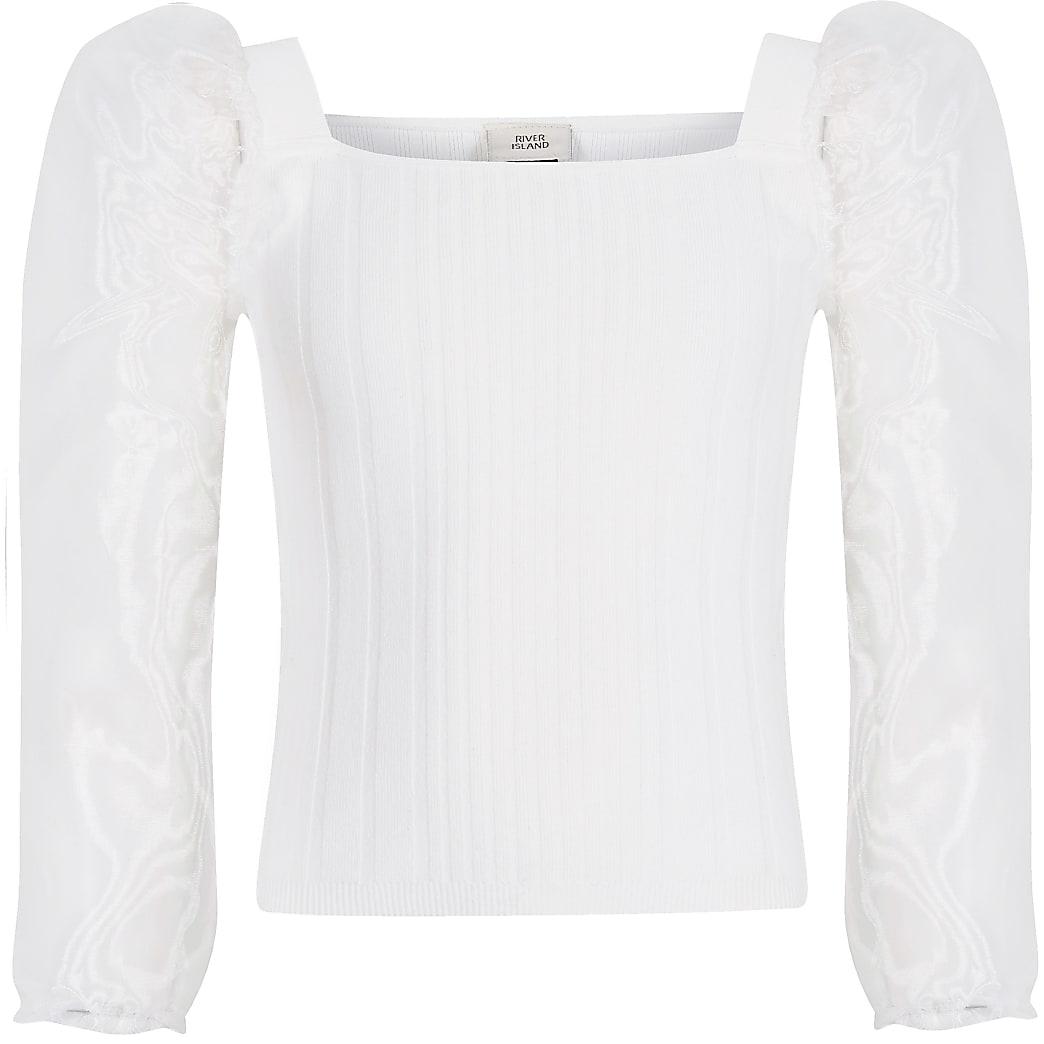 Witte gebreide top met lange organza mouwen voor meisjes