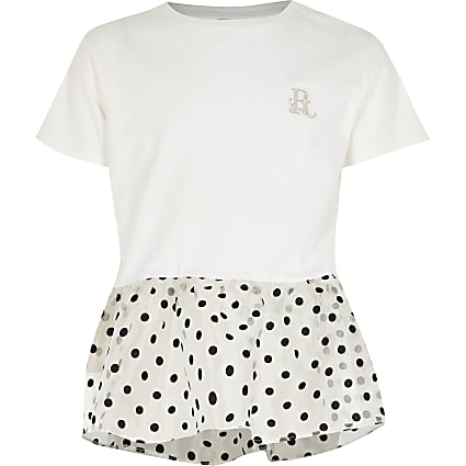 Girls white organza polka dot peplum T-shirt
