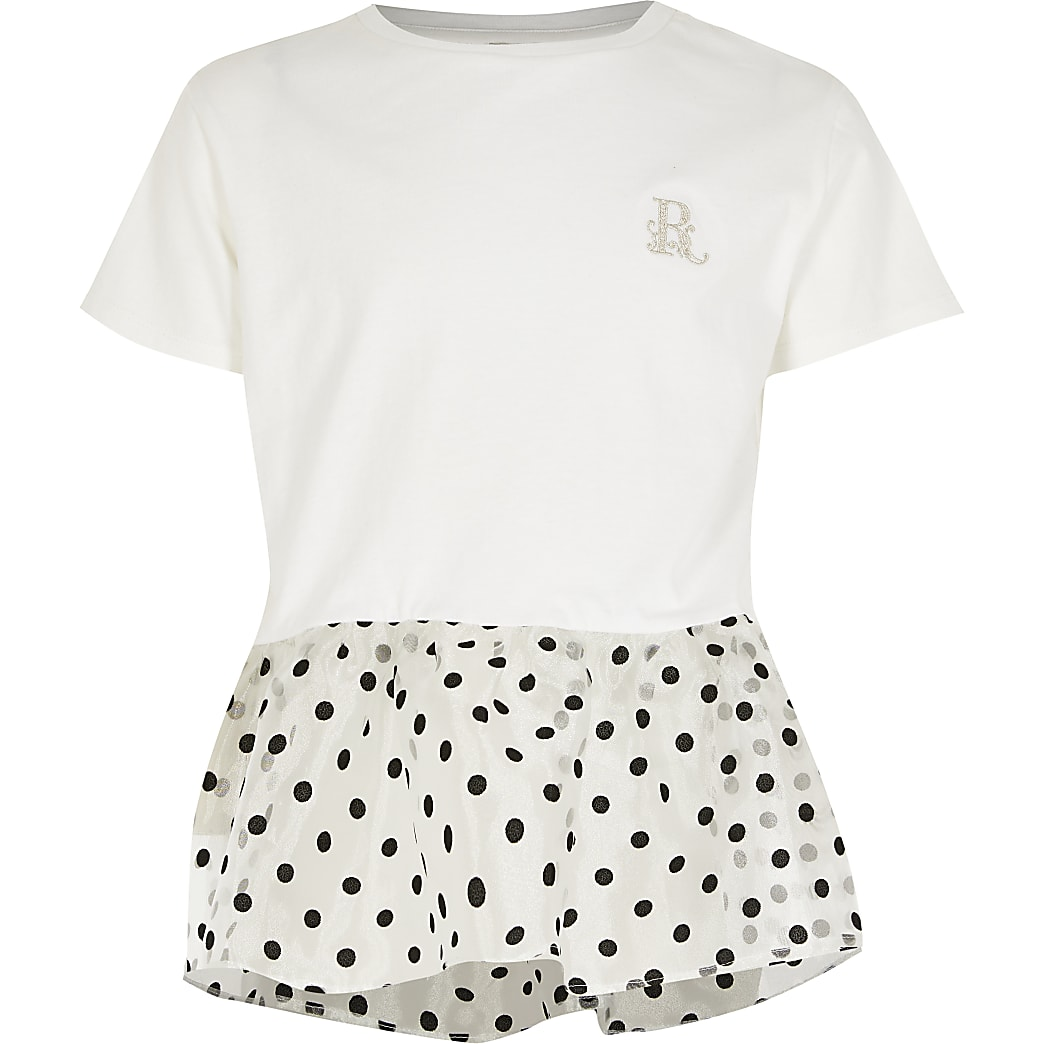 Girls white organza polka dot peplum T-shirt