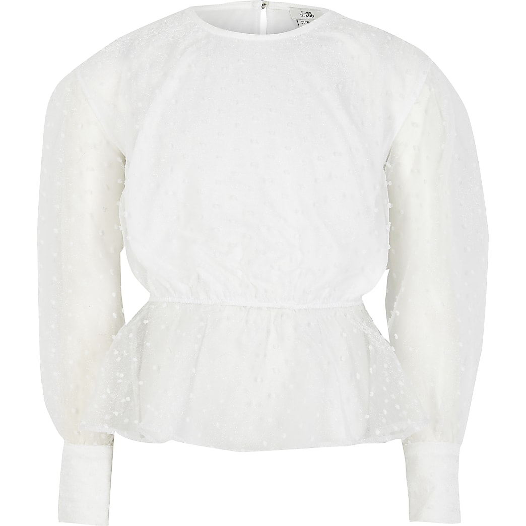 Witte top met organza pofmouwen en peplum voor meisjes