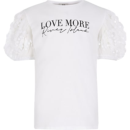Girls white organza sequin sleeve t-shirt