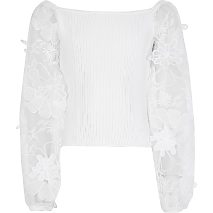 Girls white organza sleeve ribbed top