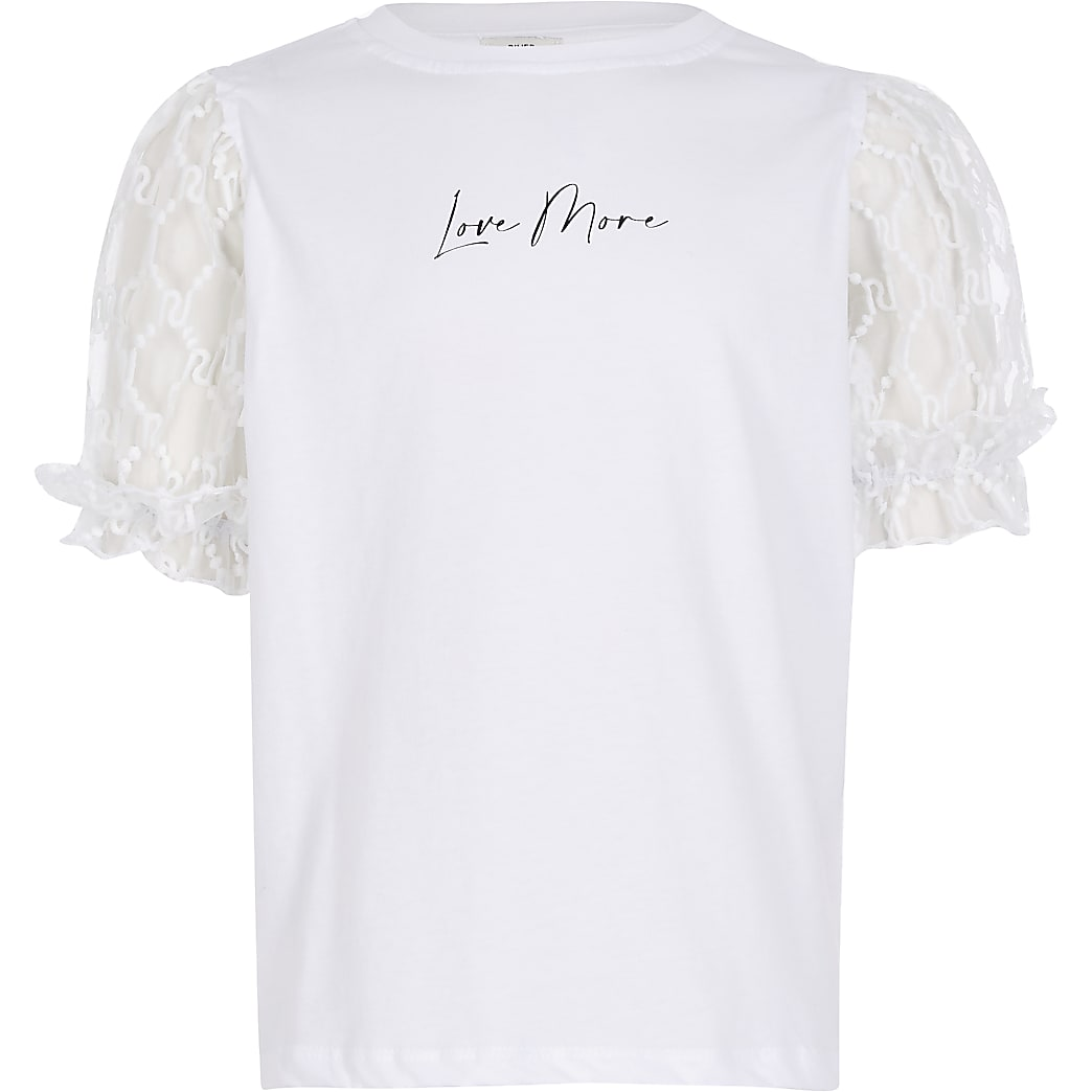 Girls white organza t-shirt