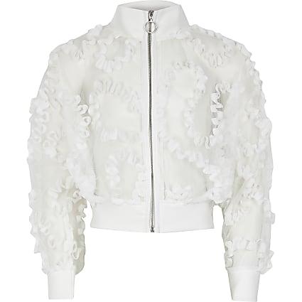 Girls white organza zip bomber jacket