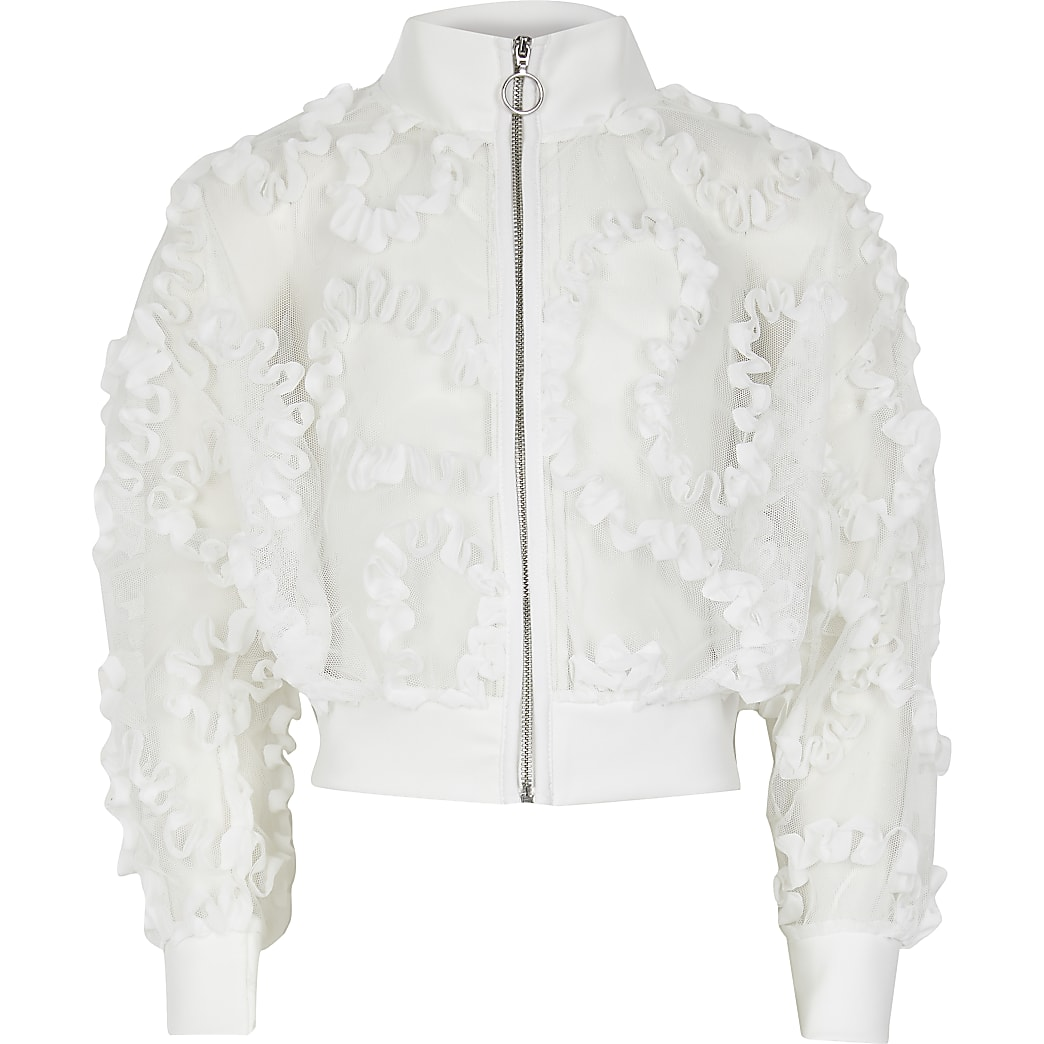 Girls white organza zip bomber jacket