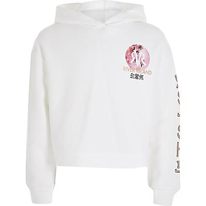 Girls white oriental floral print hoodie