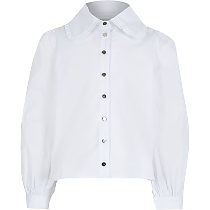 Girls white oversized collar shirt