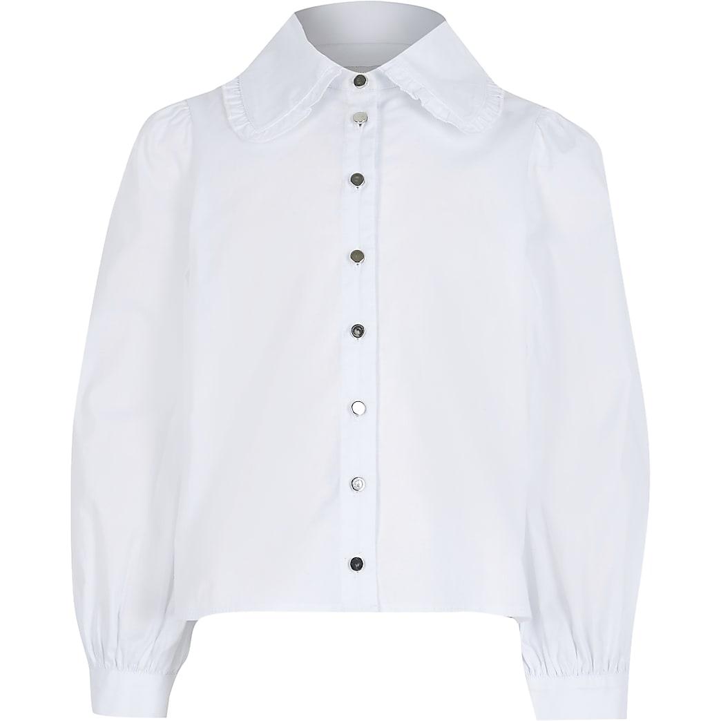 Girls white oversized collar shirt