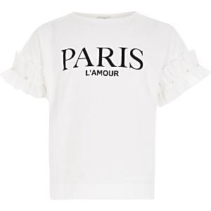 Wit T-shirt met ruche mouwen en 'Paris'-print voor meisjes