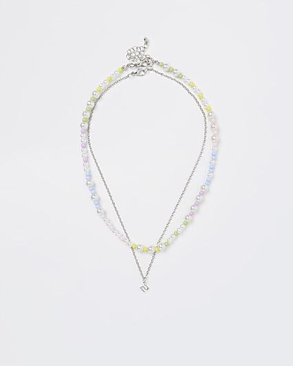Girls white pearl and chain necklace