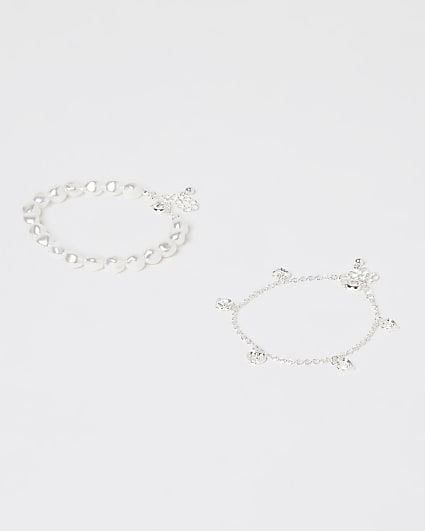 Girls white pearl and heart anklets 2 pack