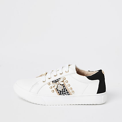Girls white pearl bee lace-up trainers