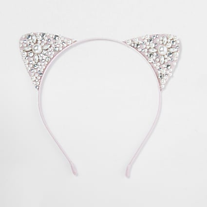 Girls white pearl cat ears hairband